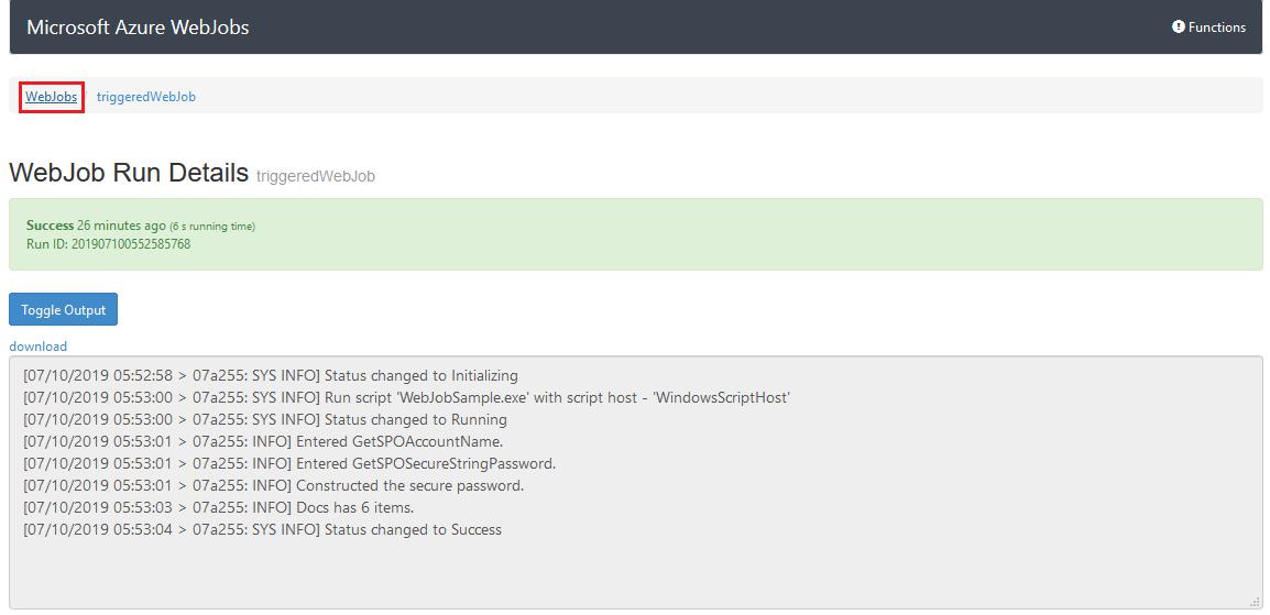 List of WebJobs