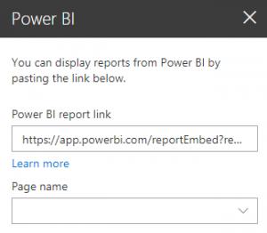 Power BI report link pane