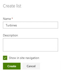 Create a SharePoint list