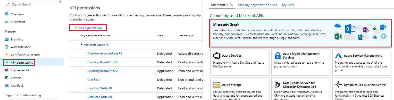 App registrations in Azure AD Portal