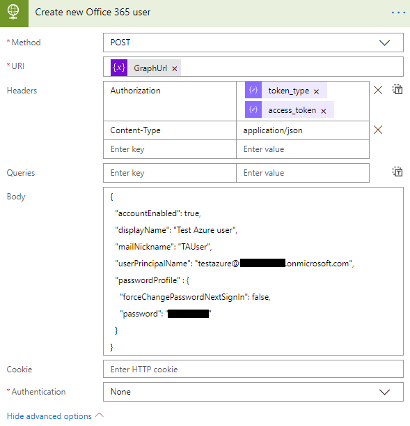 Create new Office 365 User