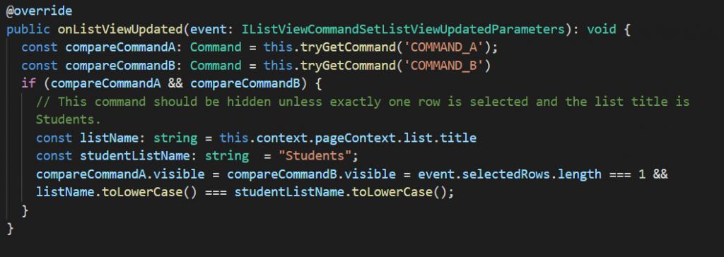 Code of onListViewUpdated