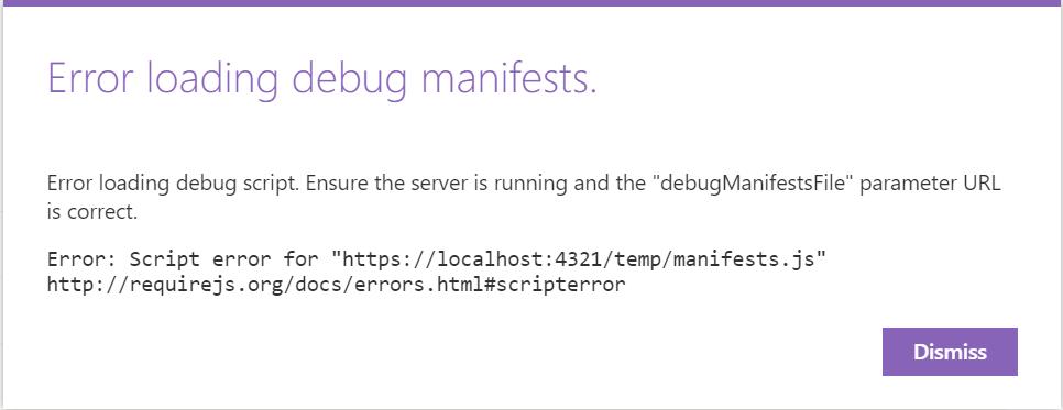 Error loading debug manifests