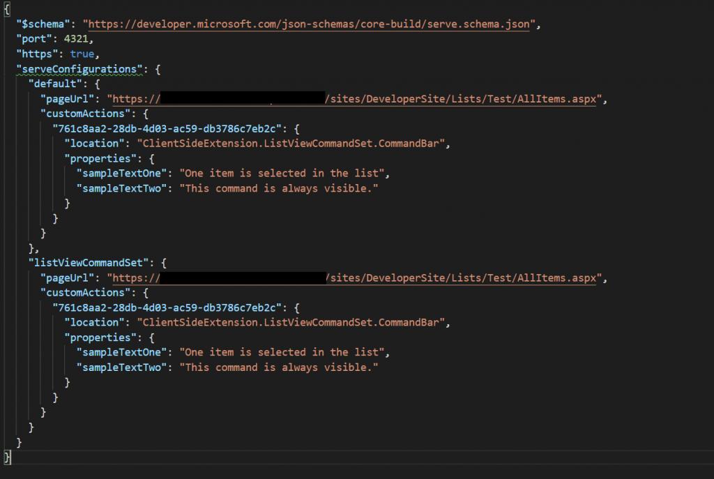 Modify the serve json file