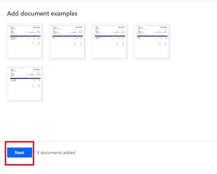 Add document example next button