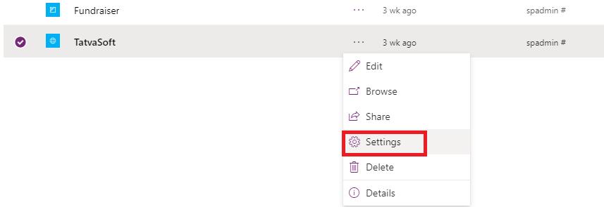 Click on Settings option