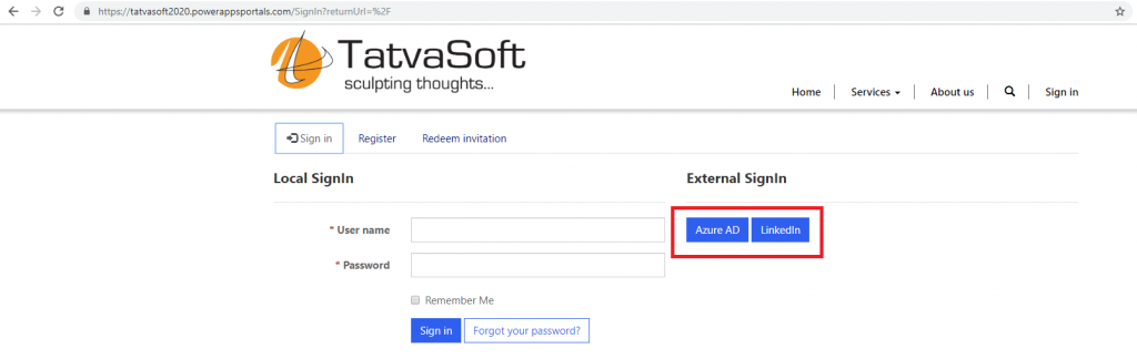 Sign in option available in the header of Portal