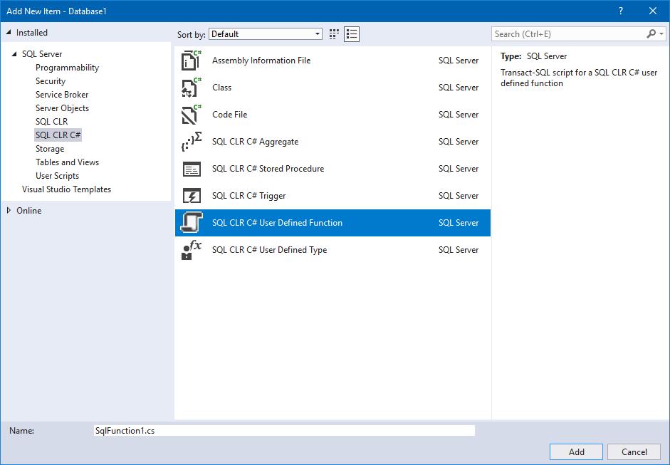 Add SQL CLR C User Defined Function