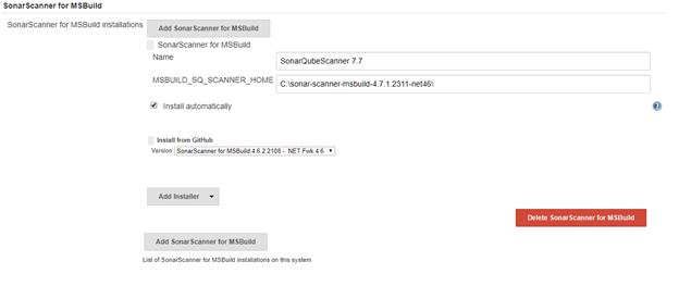 SonarScanner for MSBuild version