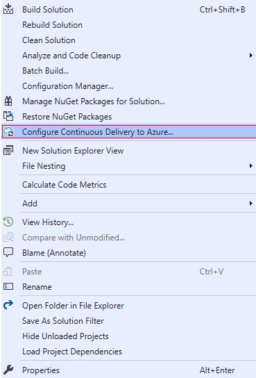 Configure continues delivery to azure