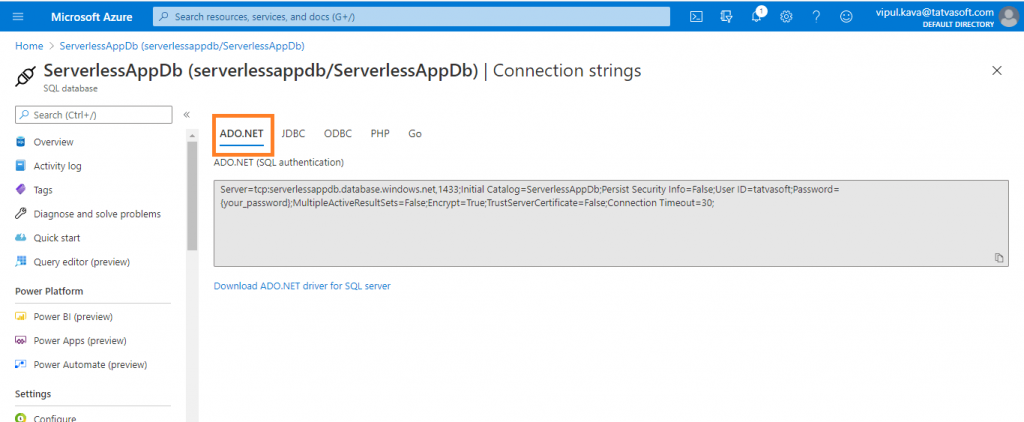 ServerAppDB Connection Strings