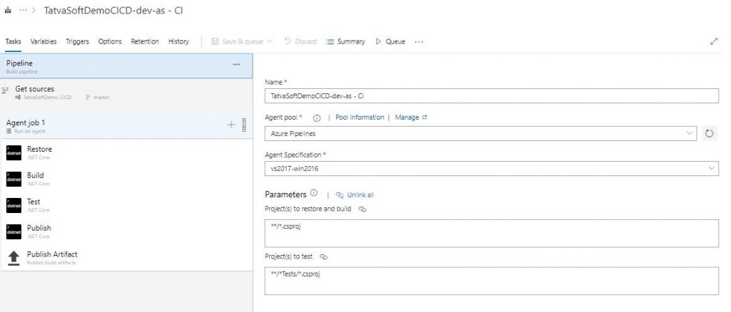 setup the pipeline from Visual Studio